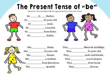 Fill in the Blank Present Tense Worksheet Pack for ESL/EFL Teaching
