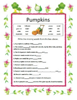 Fill in the Blank ~ Pumpkins ~ One Work Sheet ~ Many Seasons / Holidays
