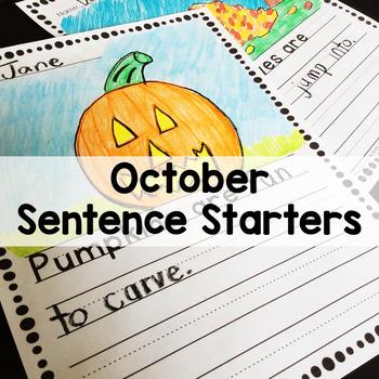 October Sentence Stem Writing Prompts