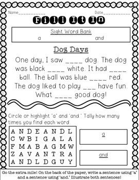 Fill-in-the-Blank Sight Word Stories: Dolch Pre-Primer