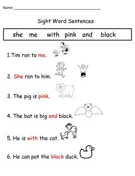 Fill in the Blank Sight Word WS