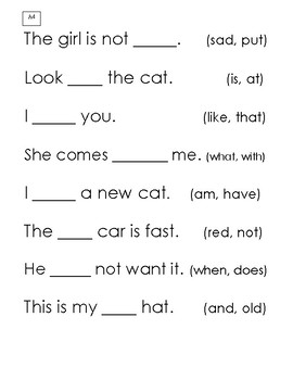 Fill in the Blank-Simple Sentences