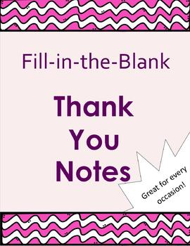 Fill in the Blank Thank You Notes