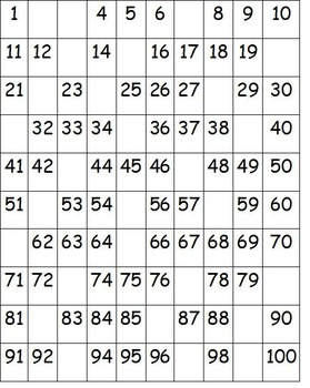 Fill in the Blanks Hundreds Chart 1-100