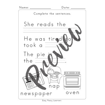 Fill in the Blanks Sentence Completion Worksheets - Reading Comprehension