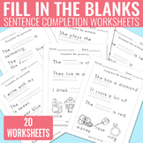 Fill in the Blanks Sentence Completion Worksheets - Readin