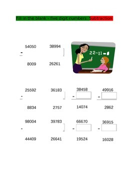 Fill in the Blanks Subtraction for 4th Grade