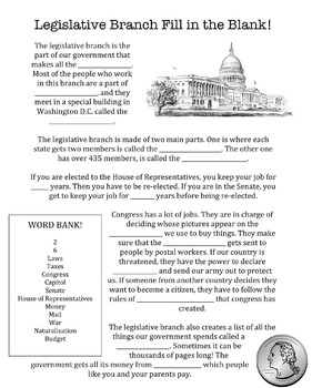 Fill in the Blanks - U.S. Government (all three branches!)