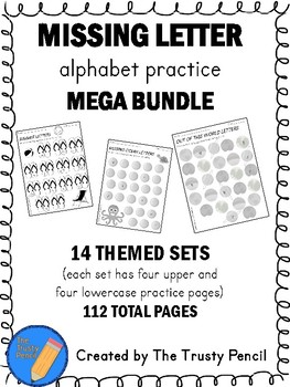 Fill in the Letter Worksheets - 14 Different Themes