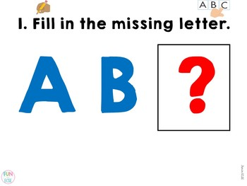 Fill in the Missing ABC's Center Activities