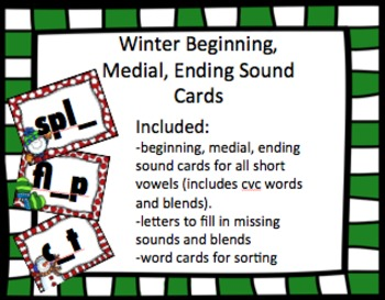 Fill in the Missing Beginning, Middle, and Ending Sounds Cards (Winter Theme)