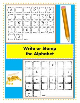 Write or Stamp the Alphabet / Alphabet Recognition / Fill in the Missing Letters