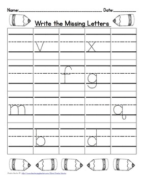 Fill in the Missing Letters Literacy Center and Morning Worksheets (Print)