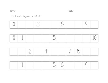 Fill in the Missing Number 1-10 and 1-20 Pack