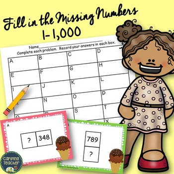 Fill in the Missing Numbers 1 to 1,000 Task Cards