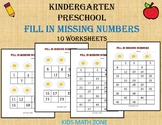 Fill in the Missing Numbers Worksheets for Kindergarten & Preschool Worksheets