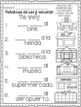 Fill in the Missing Words/Punctuation in Spanish