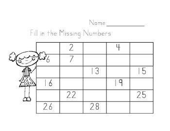 Fill in the Numbers 1-30