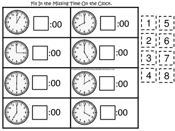 Fill in the Time (Hour) preschool educational game.  Learn how to tell time.