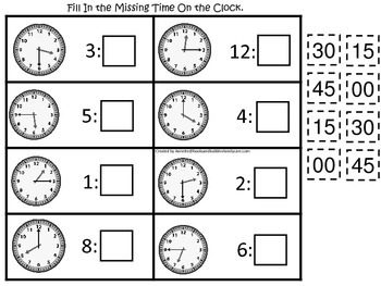 Fill in the Time (Minutes) preschool educational game.  Learn how to tell time.