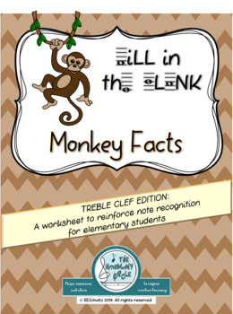 Fill in the Treble Clef Note Names: MONKEY FACTS