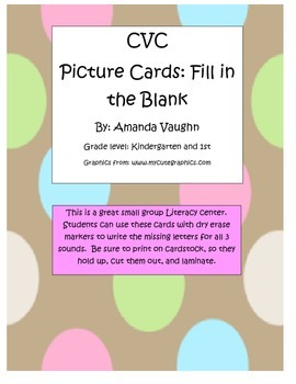 Fill in the blank CVC word cards