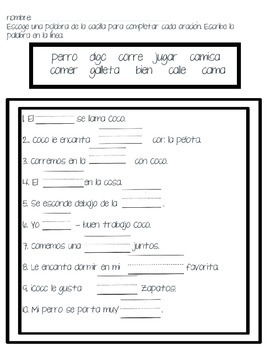 Fill in the blank- Spanish