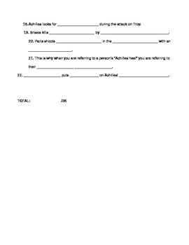 "Fill-in-the-blank Worksheet for film ""Troy"""
