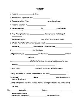 """Fill-in-the-blank Worksheet for film """"Troy"""""""
