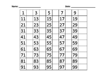Fill in the blank hundred chart - number practice
