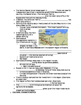 Fill in the blank notes for Russia and Central Asia
