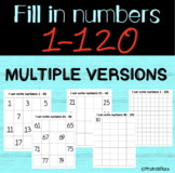 Math Warm-up: Writing number sets 1-120 MULTIPLE VERSIONS/LEVELS