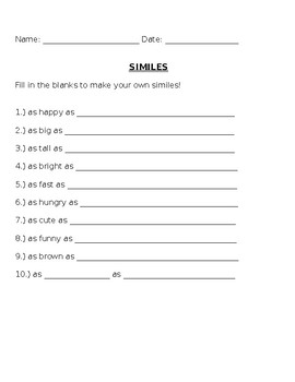 Fill in the blank similes 2!