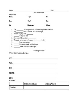 Fill in the blank worksheet