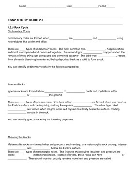 Fill in the blanks rock cycle exam study guide