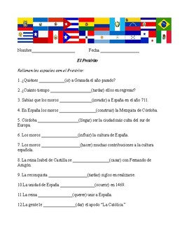 Fill in the blanks with the Preterit Hoja # 5