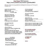 Missing Lyrics Spanish Activity