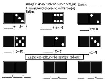 """Fill in the missing part, domino math:Spanish """"Que falta?"""""""