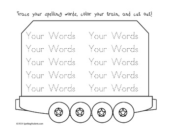 Fill in word work with train theme - make unlimited lists w/10 words!