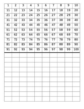 Fill it in - 100 chart