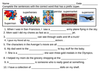 Fill teh blanks with super