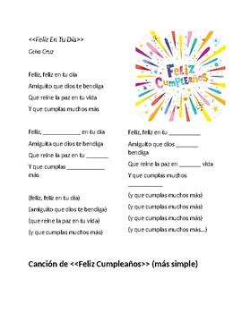 Awe Inspiring Fill The Blank Happy Birthday Song In Spanish 2 Versiones By Profe Z Funny Birthday Cards Online Alyptdamsfinfo