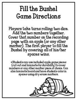 Fill the Bushel (Apple Themed Addition Math Game)
