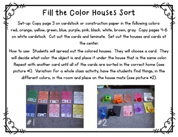 FREEBIE Fill the Color Houses Sort (Sorting By Color)