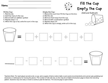 Fill the Cup; Empty the Cup Add and Subtract