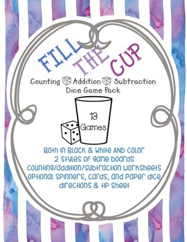 Fill the Cup Math Game 13 Different Game Boards for Counting Addition Subtract