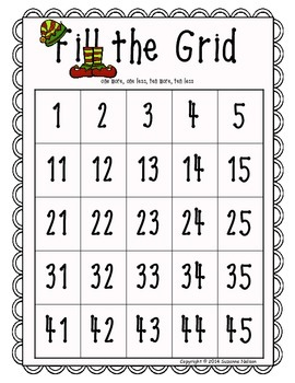 Fill the Grid on a Chunk of the 120's Chart Christmas