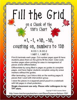Fill the Grid on a Chunk of the 120's Chart Fall Leaves