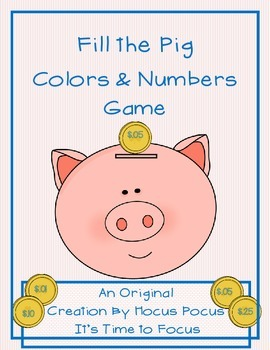Fill the Pig Colors & Numbers Game Kindergarten, 1st CC Aligned B2S