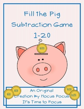 Fill the Pig Subtraction 1-10 Game Math Station Kindergarten, 1st, 2nd B2S